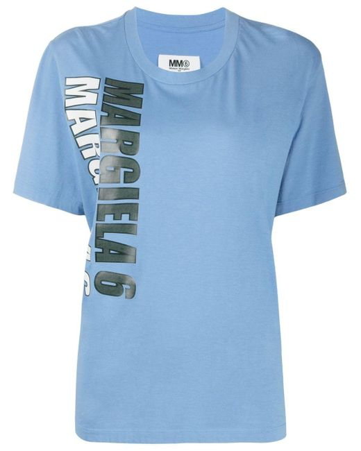 T-shirt con stampa di MM6 by Maison Martin Margiela in Blue