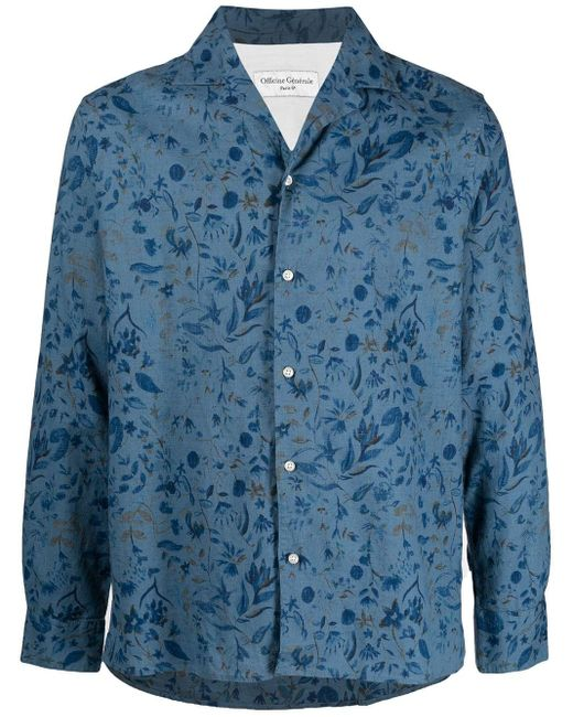 Рубашка С Цветочным Принтом И Заостренным Воротником Officine Generale для него, цвет: Blue