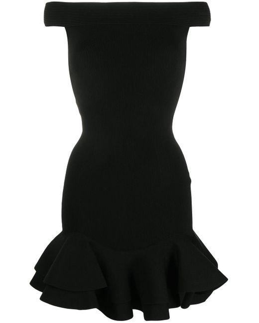 Расклешенное Платье С Открытыми Плечами Alexander McQueen, цвет: Black