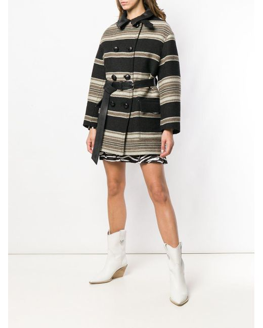 Hilda striped coat di Isabel Marant in Black