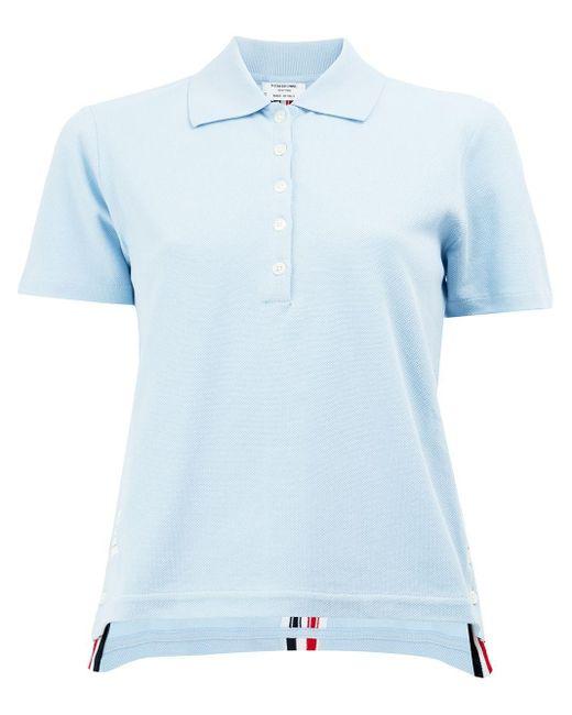 Thom Browne ストライプトリム ポロシャツ Blue