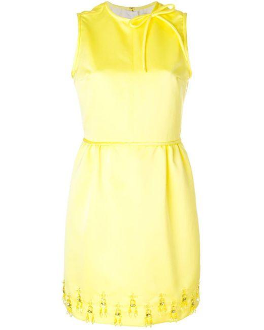MSGM ビジュートリム ドレス Yellow
