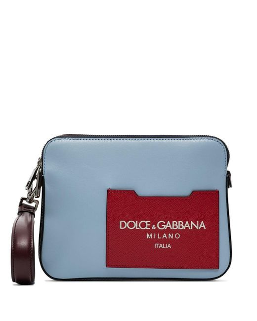 メンズ Dolce & Gabbana レザーポーチバッグ Red