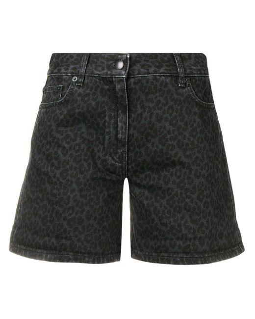 McQ Alexander McQueen Black Denim Leopard Shorts