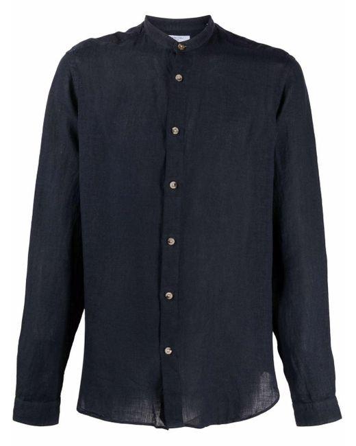 メンズ Boglioli ノーカラー リネンシャツ Blue