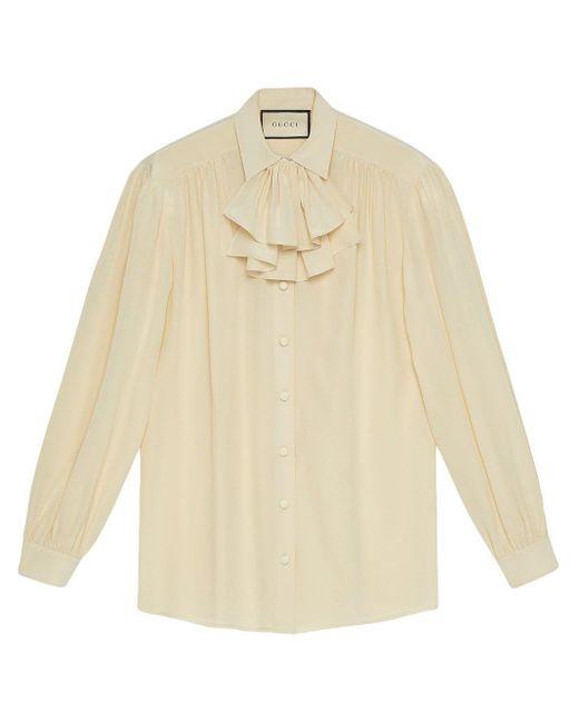 Chemise à col volanté Gucci en coloris White