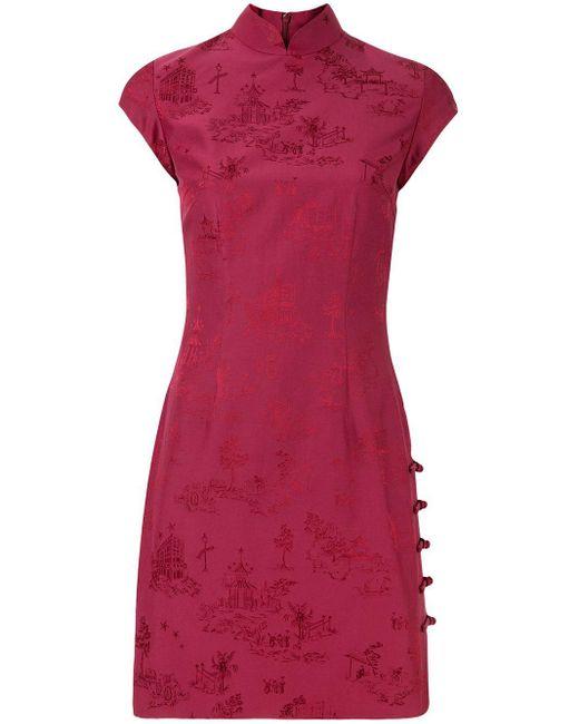 Shanghai Tang Chinoiserie ジャカード ドレス Red