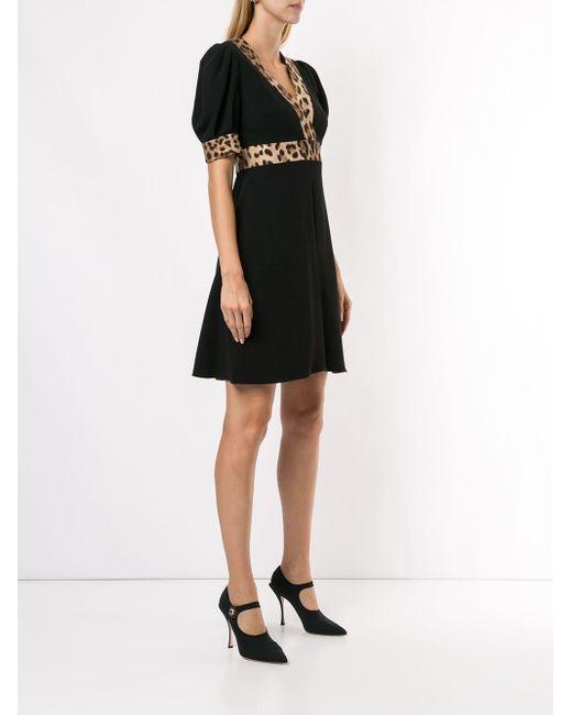 Расклешенное Платье С Леопардовыми Вставками Dolce & Gabbana, цвет: Black