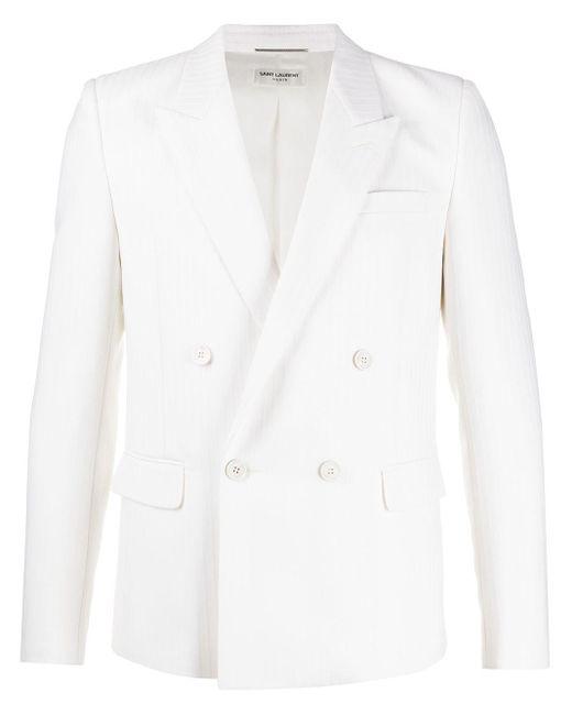 メンズ Saint Laurent ホワイト ウール テーラード ダブルブレスト ブレザー White