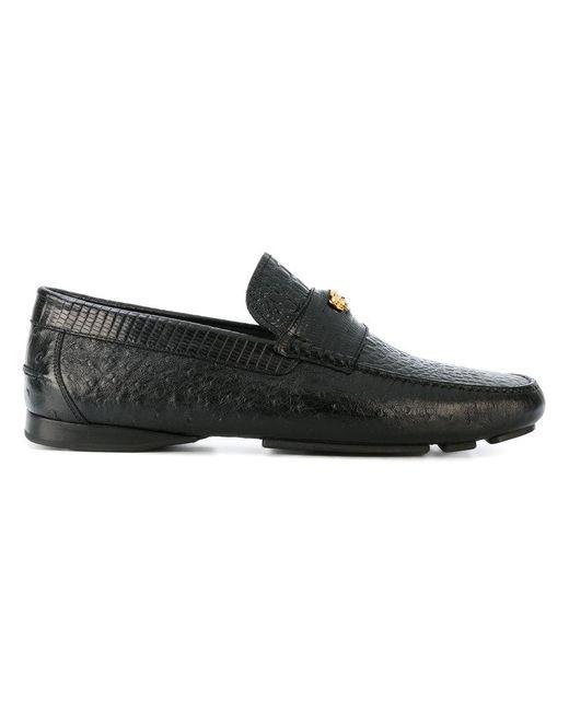 Versace | Black Crocodile Effect Signature Loafers for Men | Lyst