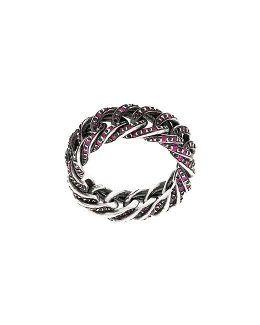 Ugo Cacciatori Metallic Embellished Chain Ring