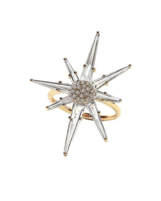 Bondeye Metallic 14kt Yellow Gold Hera Diamond And Topaz Ring