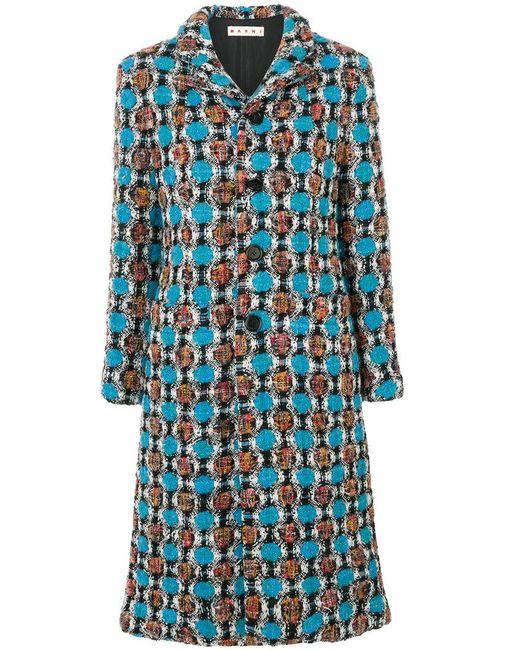 Marni - Blue Tweed Coat - Lyst