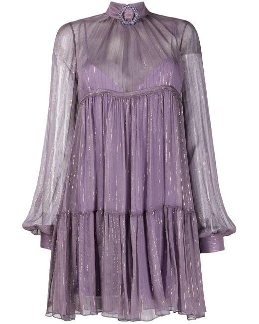 Vestito corto stile impero di Philipp Plein in Purple