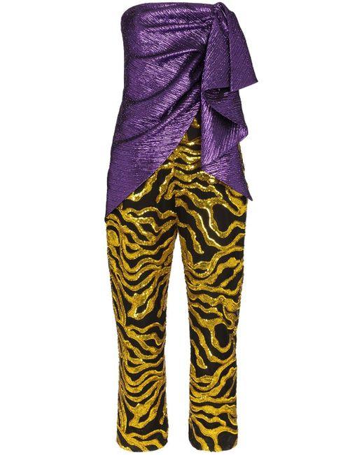 Halpern Purple Multi-textured Jumpsuit