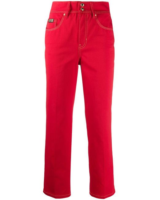 Versace Jeans コントラストステッチ クロップドジーンズ Red