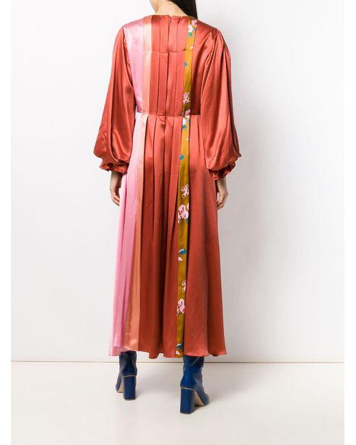 Robe droite à design plissé Roksanda en coloris Red