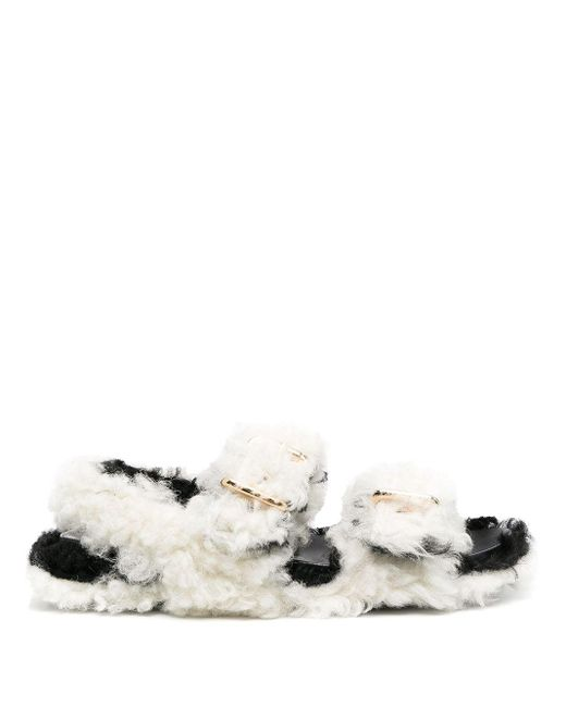 Marni White Shearling Buckled Sandals
