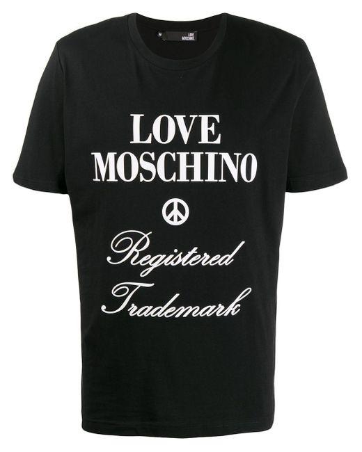 メンズ Love Moschino ロゴ Tシャツ Black