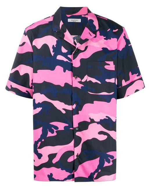 メンズ Valentino カモフラージュ シャツ Pink