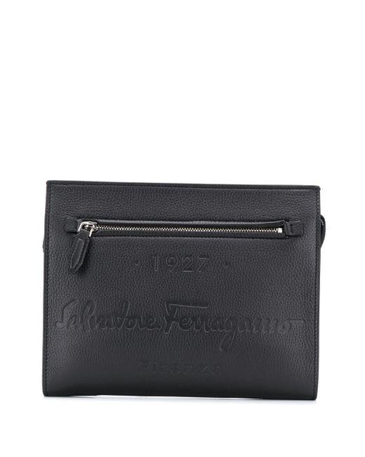 メンズ Ferragamo 1927 ロゴ クラッチバッグ Black