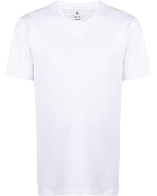 メンズ Brunello Cucinelli クルーネック Tシャツ White