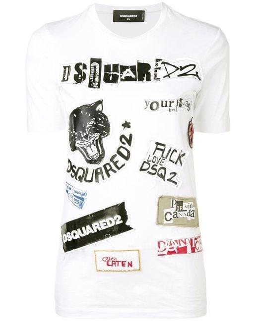 DSquared² パッチワーク Tシャツ White