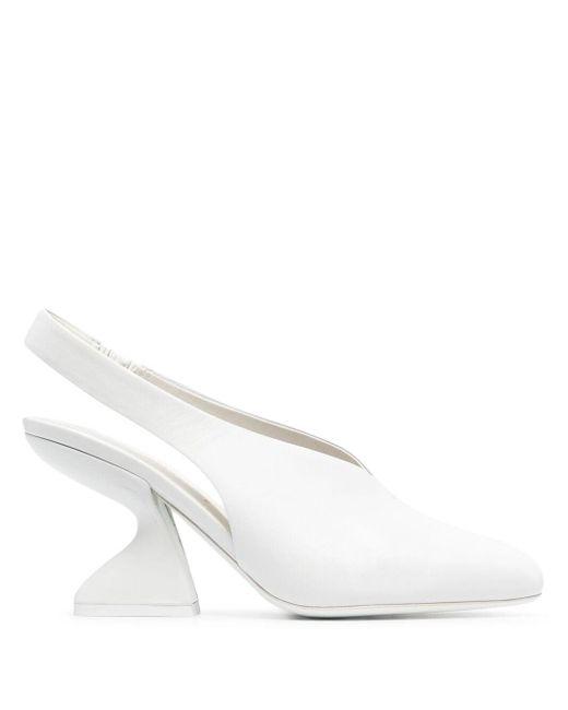 Туфли F-heel 95 С Ремешком На Пятке Ferragamo, цвет: White