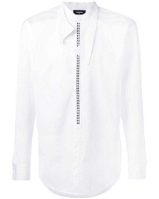 DSquared² - White Collarless Detail Shirt for Men - Lyst