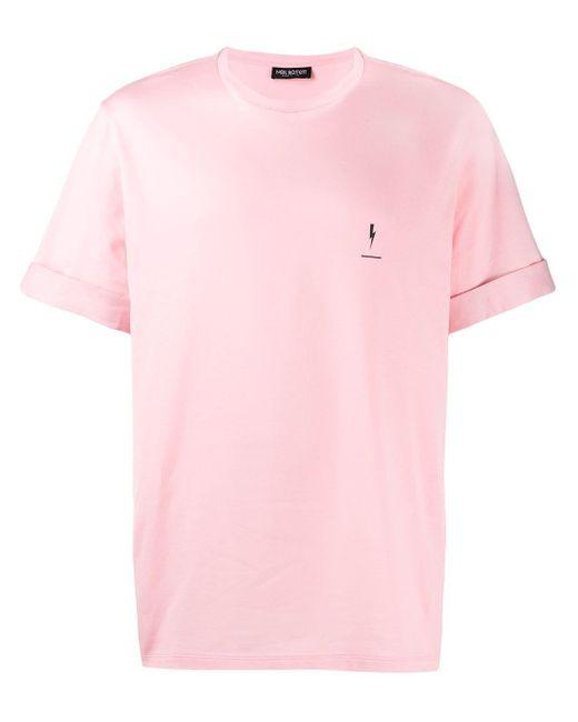 メンズ Neil Barrett ロールアップカフス Tシャツ Pink