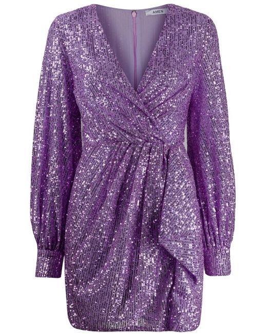 Amen スパンコール ドレス Purple