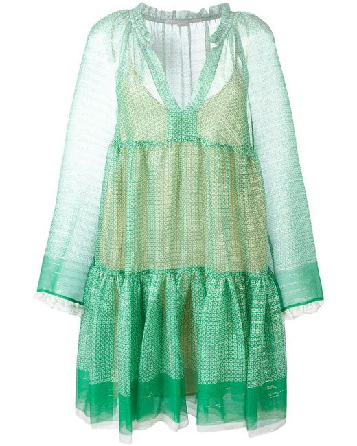 Stella McCartney - Green Circle Star Mini Dress - Lyst