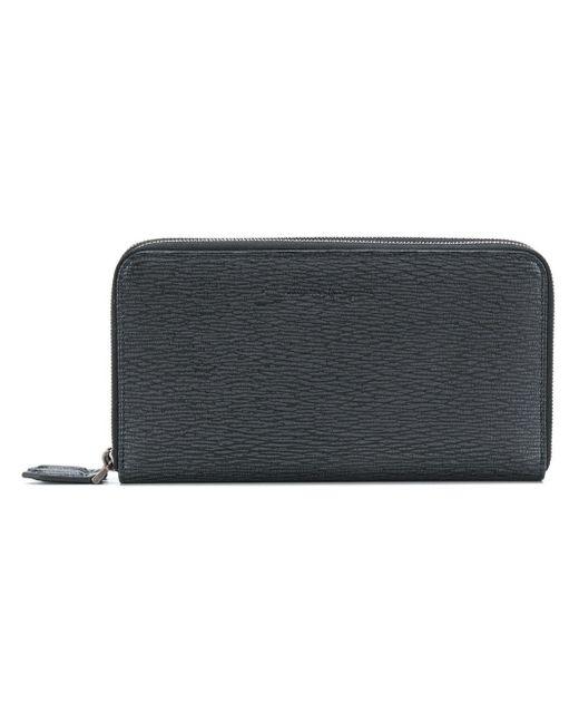 Ferragamo Black Embossed Zip Around Wallet for men