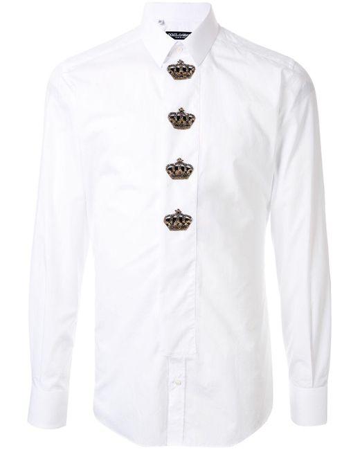 メンズ Dolce & Gabbana パッチ シャツ White