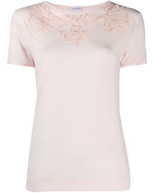 La Perla フローラルアップリケ Tシャツ Pink