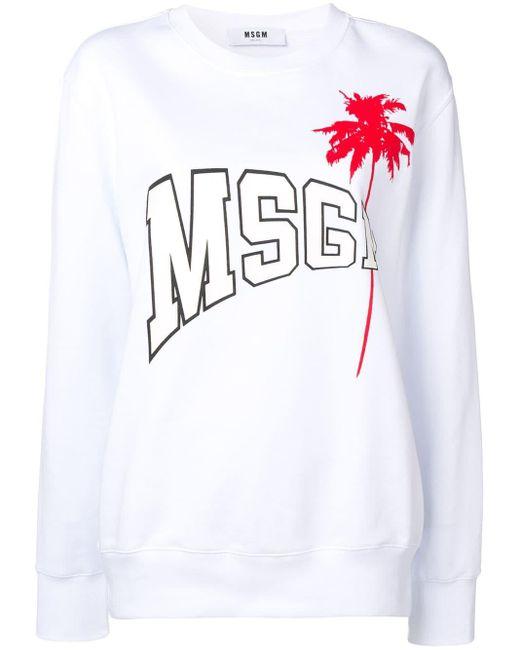 Толстовка С Принтом Логотипа И Пальмы MSGM, цвет: White