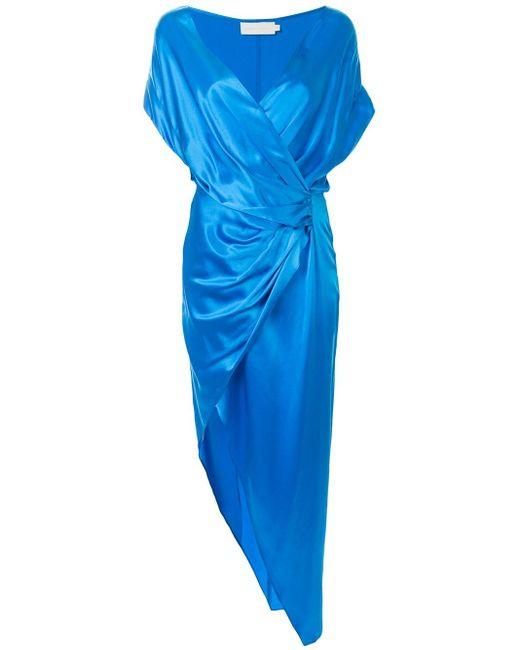 Michelle Mason シルク ラップドレス Blue