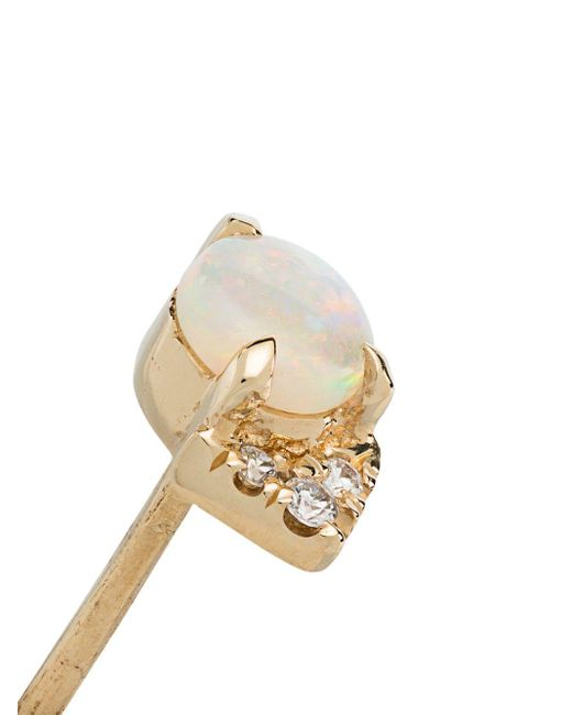 Yellow Gold Opal Diamond Earrings Lizzie Mandler, цвет: Multicolor