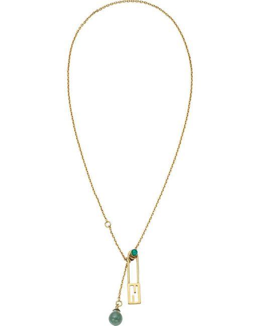 Collier FF Baguette à pendentif en pierre Fendi en coloris Metallic