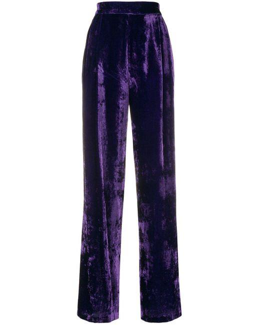 Erika Cavallini Semi Couture ベルベット ハイウエスト イージーパンツ Blue