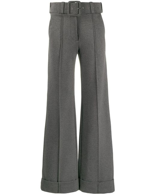 Victoria, Victoria Beckham Gray High-waisted Wide-leg Trousers