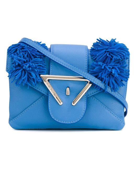 Sara Battaglia - Blue Frayed Detail Crossbody Bag - Lyst