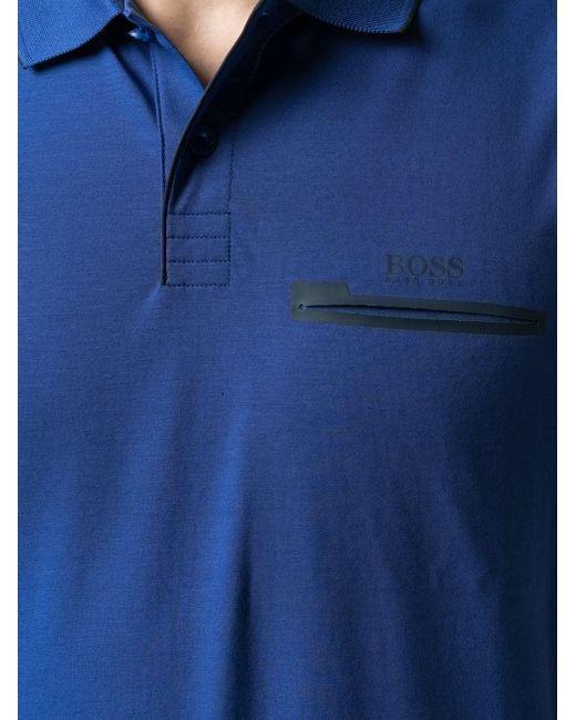 BOSS by Hugo Boss Poloshirt mit Reißverschlusstasche in Blue für Herren