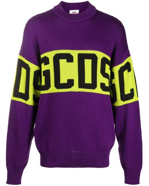 メンズ Gcds ロゴ セーター Purple
