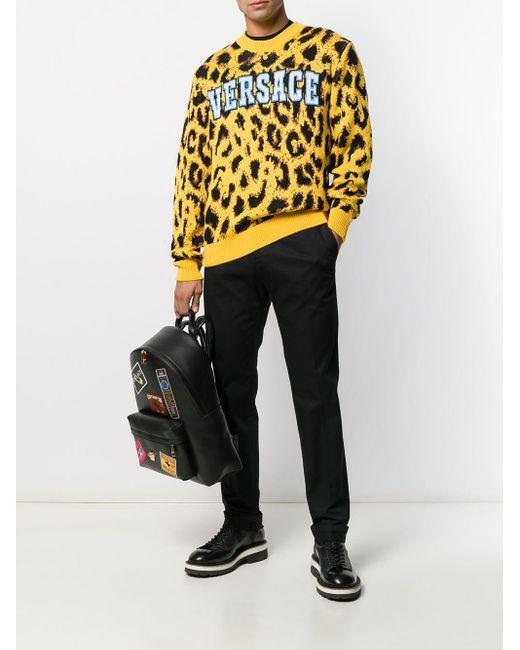 メンズ Versace レオパード プルオーバー Yellow