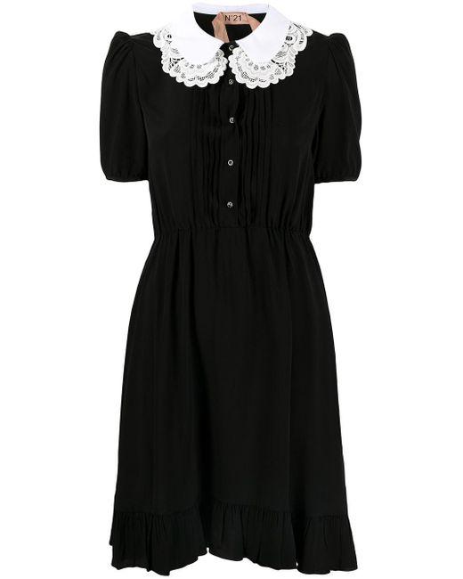 N°21 コントラストカラーミニドレス Black