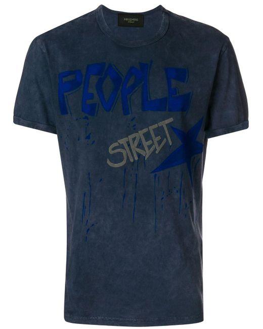 メンズ Mr & Mrs Italy プリント Tシャツ Blue