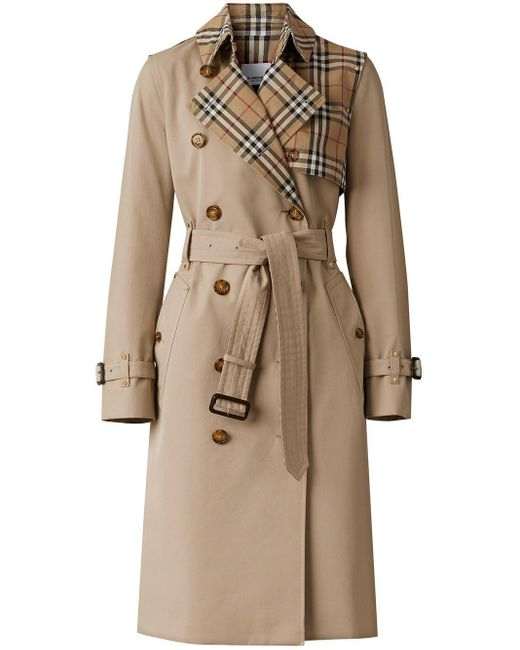 Burberry Natural Vintage Check Panel Trench Coat