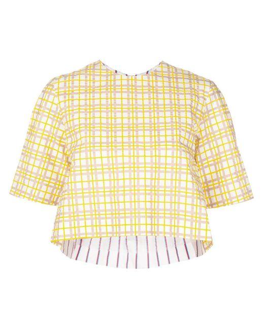 Rosie Assoulin チェック クロップドtシャツ Yellow
