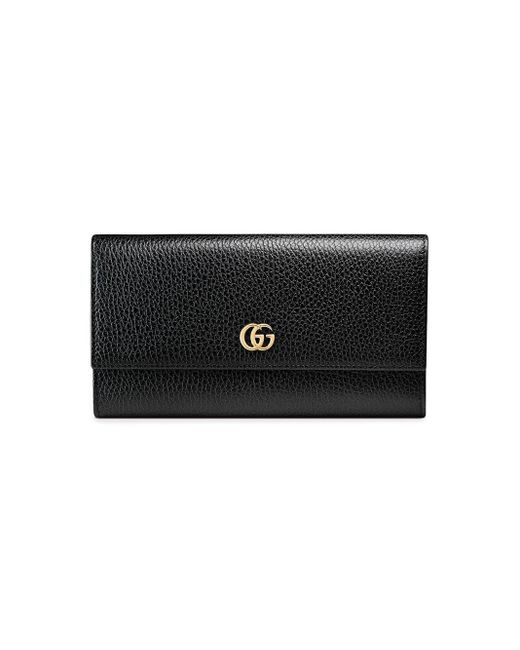Gucci Black GG Marmont Leather Continental Wallet